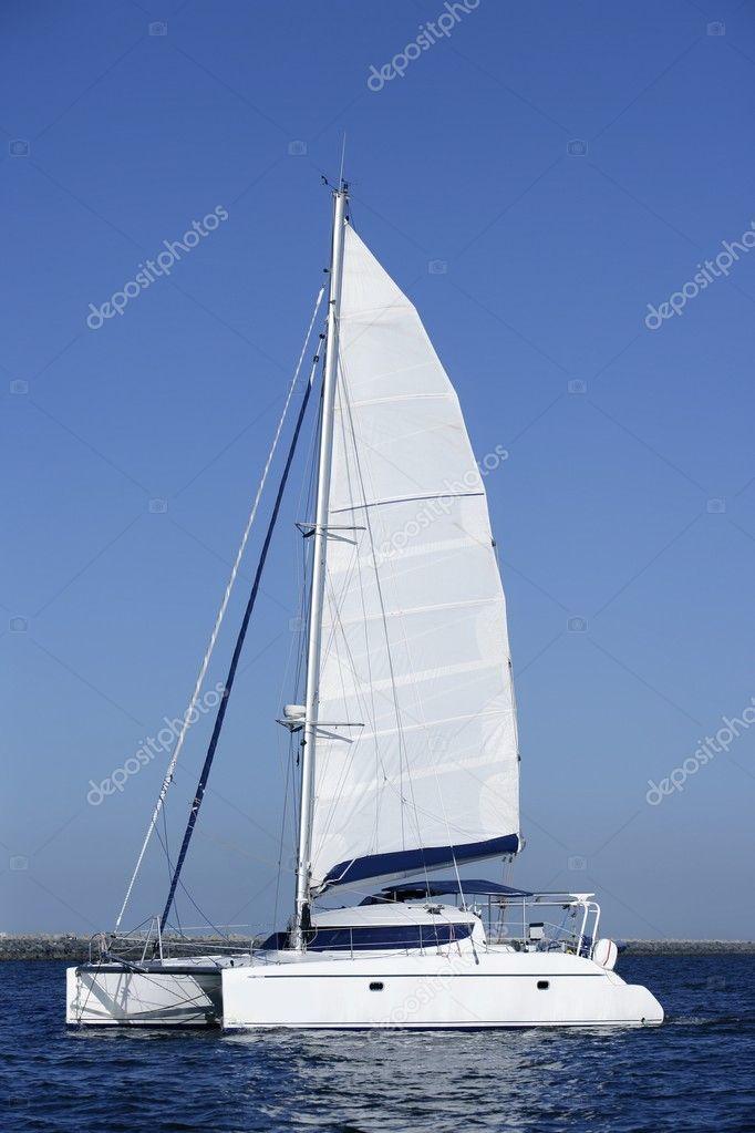 Catamaran sailboat sailing blue ocean water