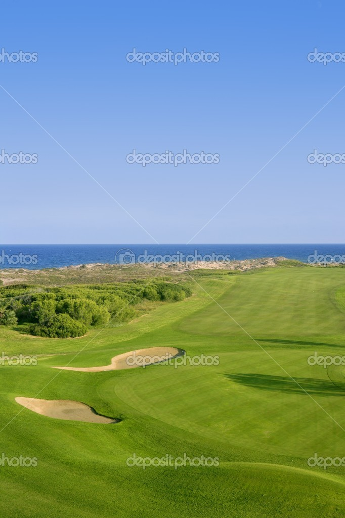 Golf course green grass near sea ocean