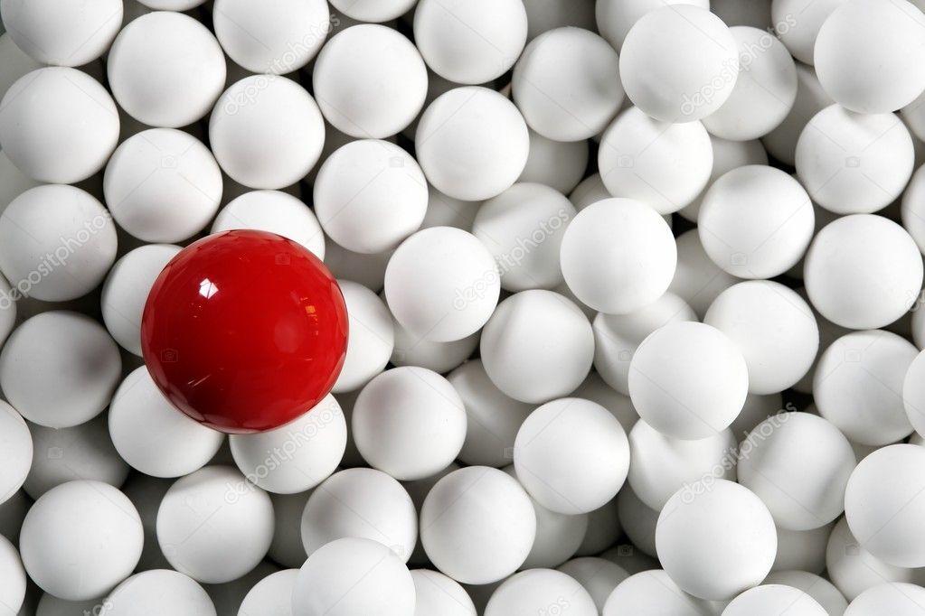 Alone One Billiard Red Ball Little White Balls Stock