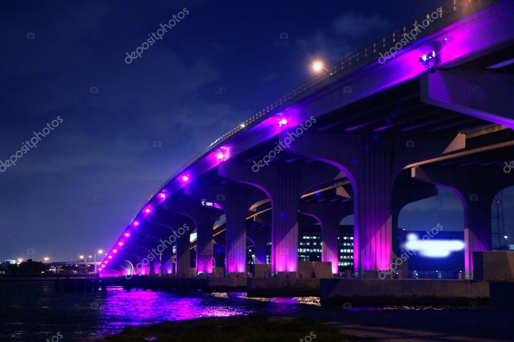 Miami florida bridge night view A1A — Stock Photo #5509347