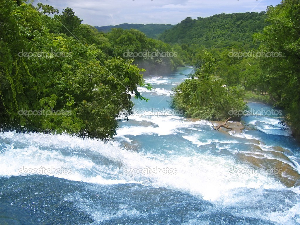 Agua Azul waterfalls blue water river in Mexico