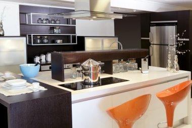 Brown wood kitchen modern stainless steel