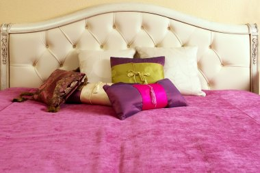 Diamond upholstery bed head pink blanket