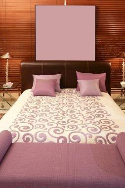Purple bedroom bed warm wood sunblind