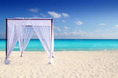 Caribbean gazebo beach wedding massage