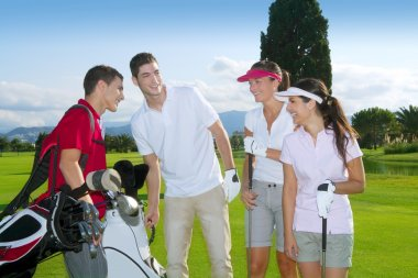 Golf course group young players team