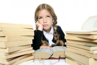Little unhappy sad student blond braided girl bored with stacked