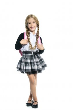 Full length stand up little blond school girl with backpack