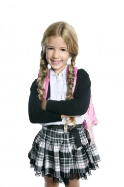 Little blond school girl with backpack bag portrait