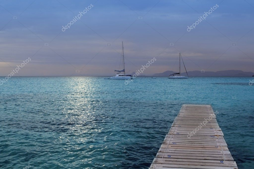 Magic silver turquoise Formentera sea sunset