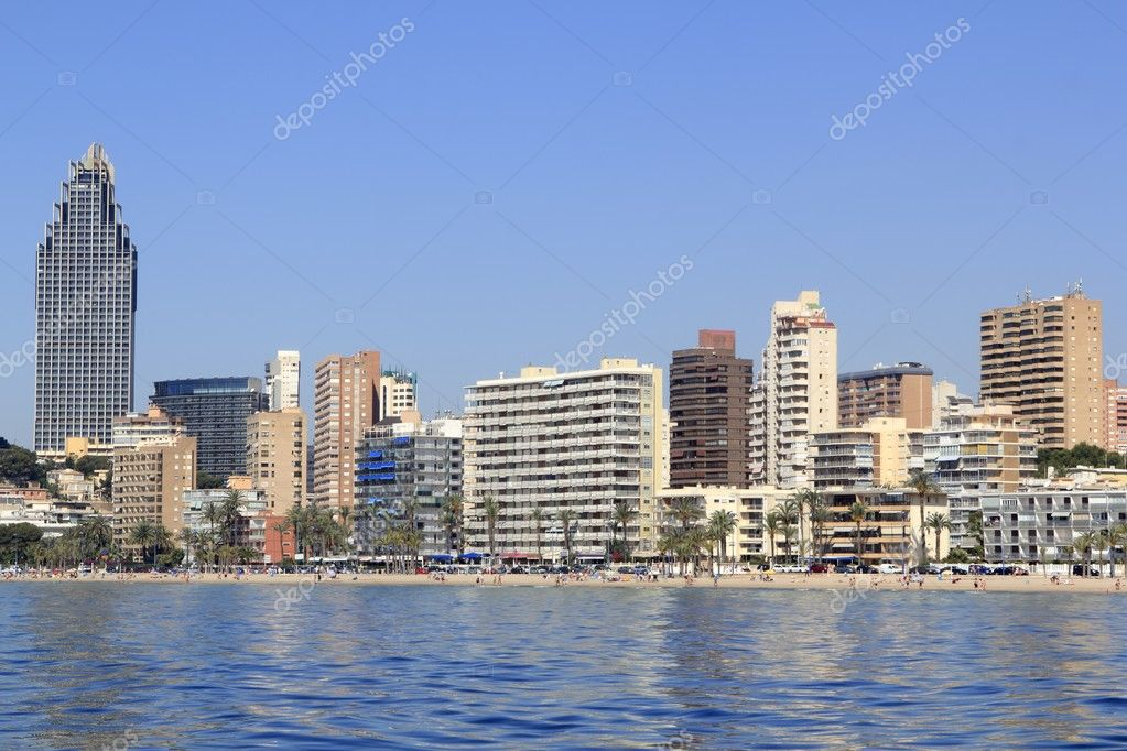 Benidorm Alicante Privince beach from sea