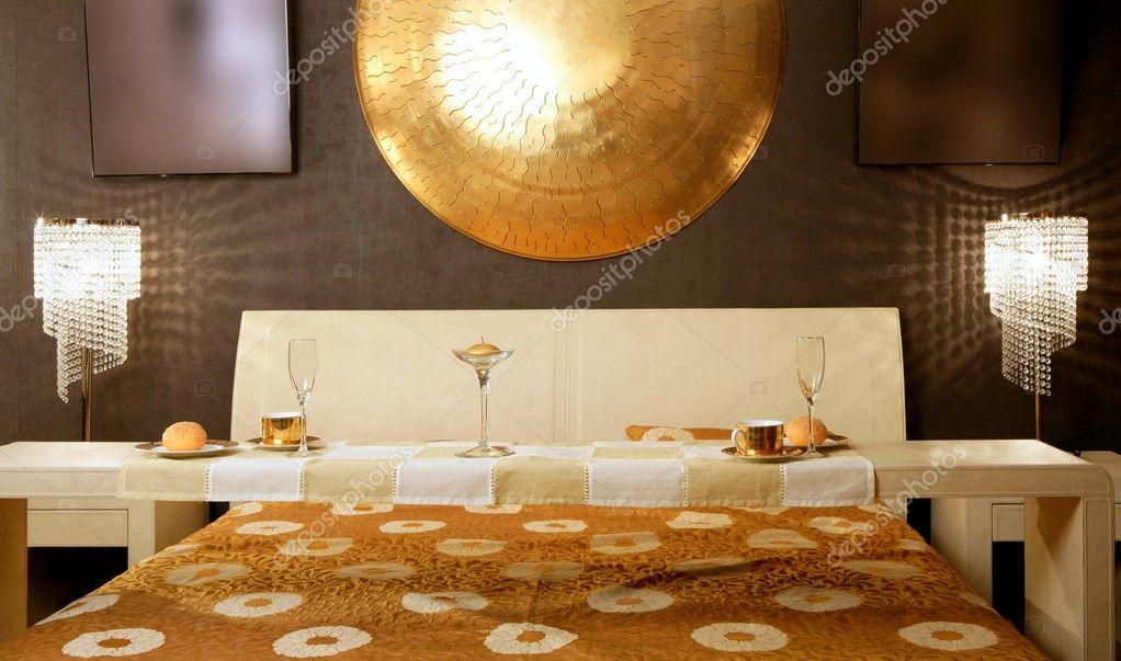 asiatische moderne Schlafzimmer Luxus Frühstückstisch — Stockfoto ...