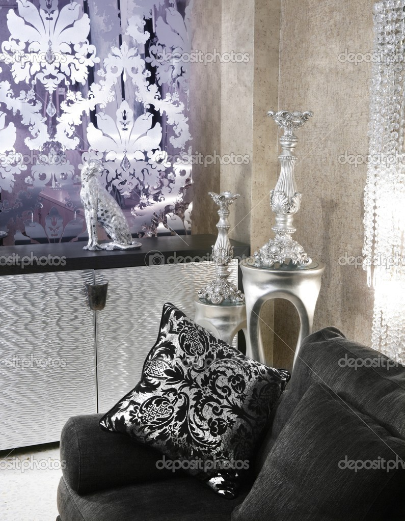 Living room coach black sofa silver furniture — Stock Photo ...