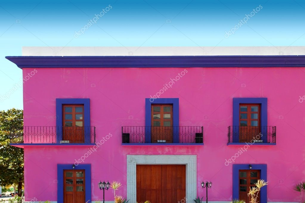 Mexican Pink House Facade Wooden Doors Stock Photo