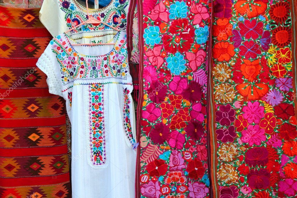 Colorido Sarape Mexicano Tela Vestido De Chiapas Foto De