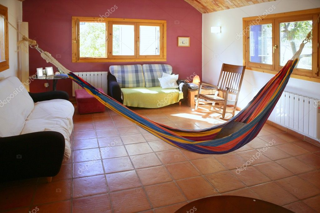 Living Room In Warm Colors, Mexican Hammock U2014 Stock Photo