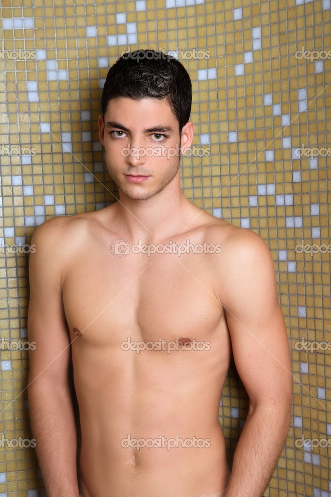 Tile Bathroom Shower Young Nude Man Posing Sexy Stock Photo