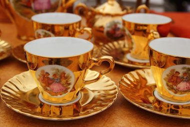 Ancient golden porcelain cups coffe or tea
