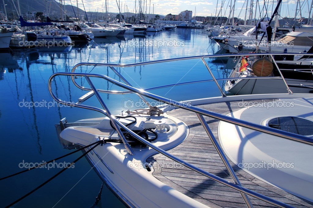 Boat mediterranean marina in Denia Alicante Spain