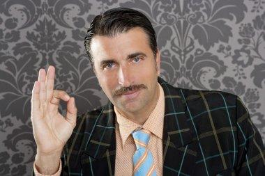 Nerd retro man businessman ok positive hand gesture