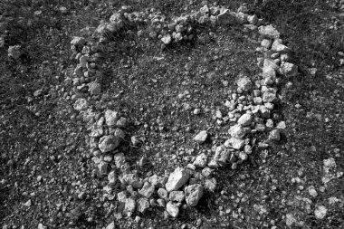 Black and white heart shape stones on soil