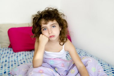 Brunette girl boring bed messy morning hair
