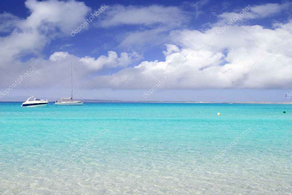 Illetes illetas formentera beach boats anchor