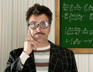 Genius nerd glasses silly man board math formula