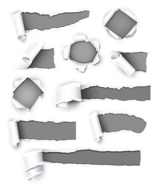 Collection of gray paper. Vector illustration stock vector