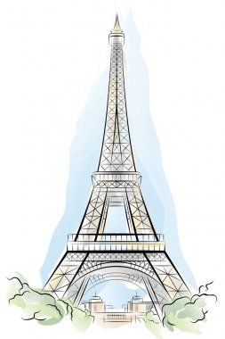Drawing color Eiffel Tower in Paris, France. Vector illustration