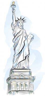 Drawing color Statue of Liberty in New York, USA