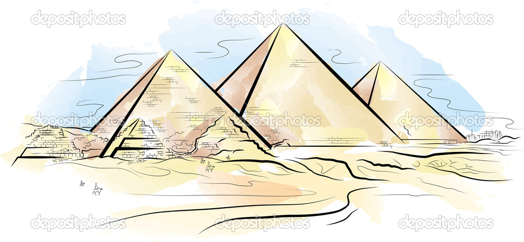 Drawing Color Piramids And Desert In Giza Egypt Stock