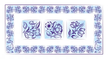 Old tiles color portuguese frame