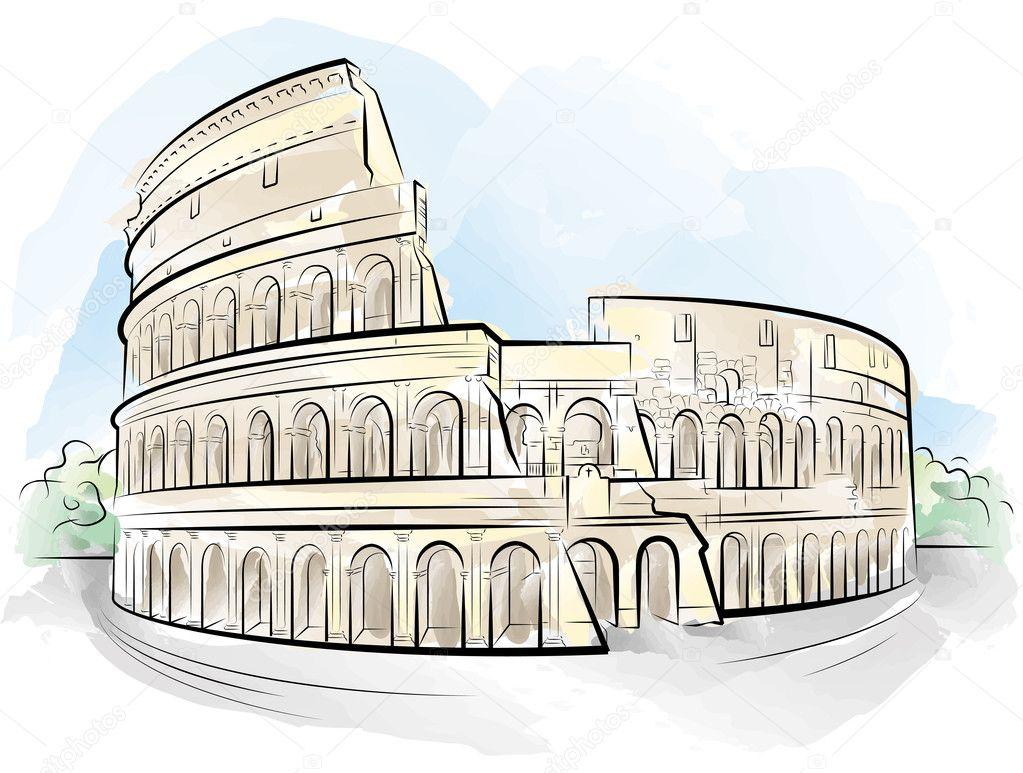 Dibujo Color Coliseo Roma Italia Archivo Imágenes Vectoriales