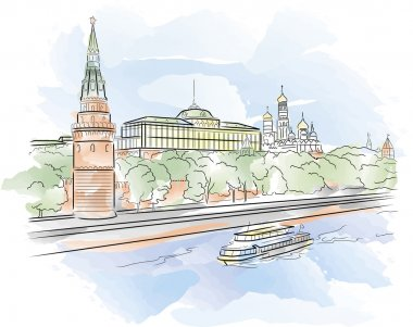 Big Palace of Moscow Kremlin with Moscow river