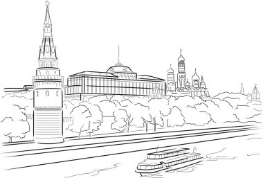 Big Palace of Moscow Kremlin with Moscow river. Vector illustrat