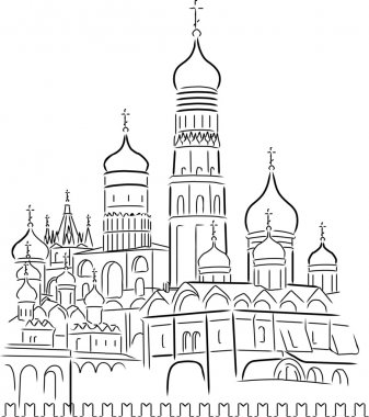 Drawing Cathedral of Saint Basil the Blessed at the Red Square o