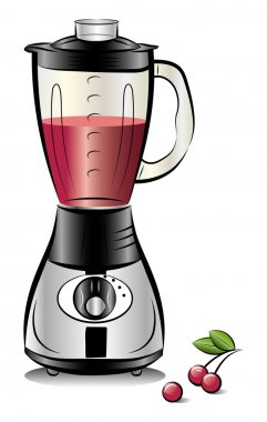 Drawing color kitchen blender with Cherry juice. Vector illustra