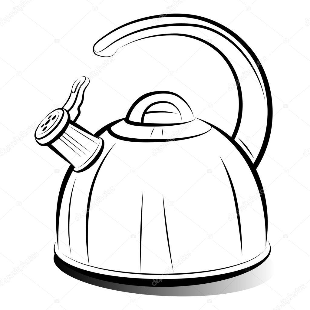 Afbeelding Theepot Kleurplaat Tekening Theepot Waterkoker Vector Illustratie