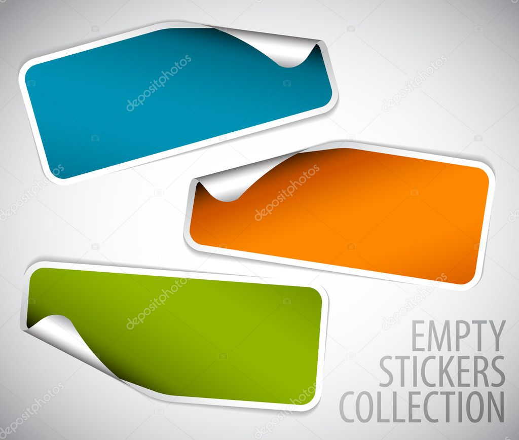 Set of blank rectangle stickers