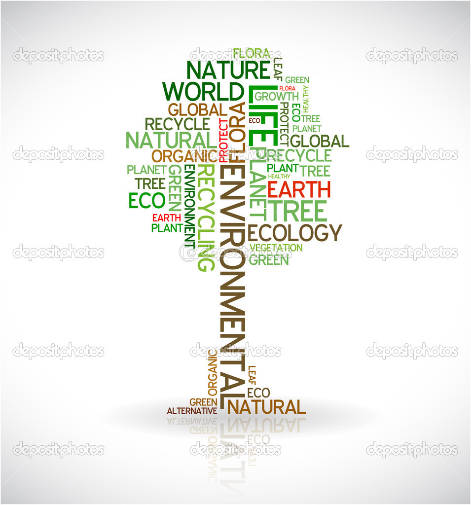 Ecology - environmental poster made from words in the shape of green tree