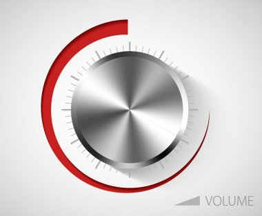 Chrome volume knob with scale on white background clip art vector