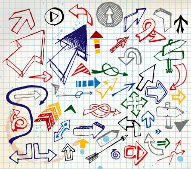 Big set of various colorful doodle arrows
