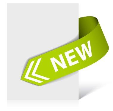 New green corner ribbon - arrow
