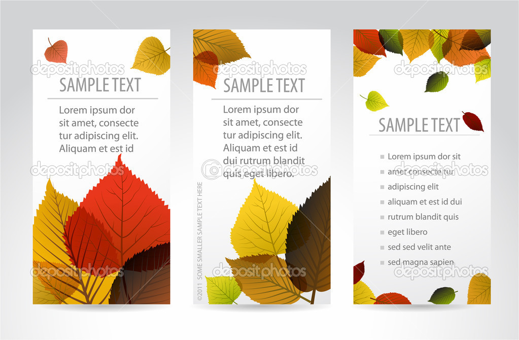 Fresh natural autumn vertical banners with leafs
