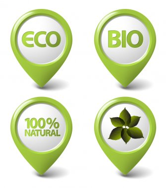 Set of green organic, natural, eco, bio food tags