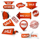 Photo Set of sale tickets, labels, stamps, stickers, corners, tags