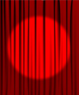 Red curtain from the theatre with a spotlight stock vector
