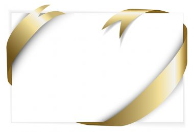 Golden ribbon around white paper