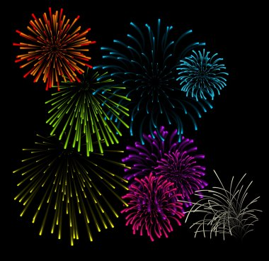Set of fireworks vector illustrations